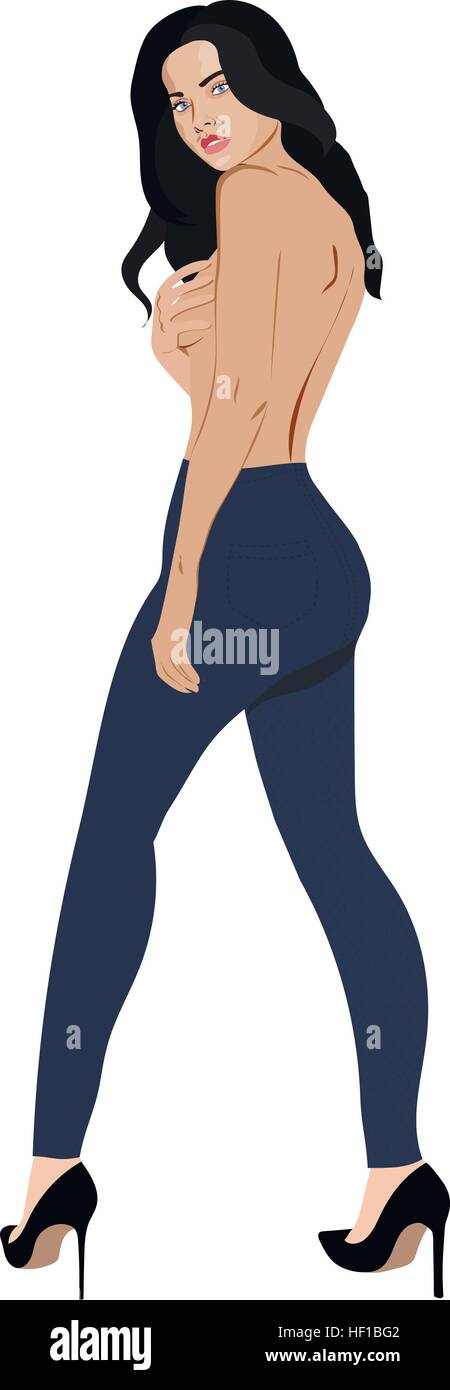 Topless girl wearing jeans skinny trousers Stock Vector