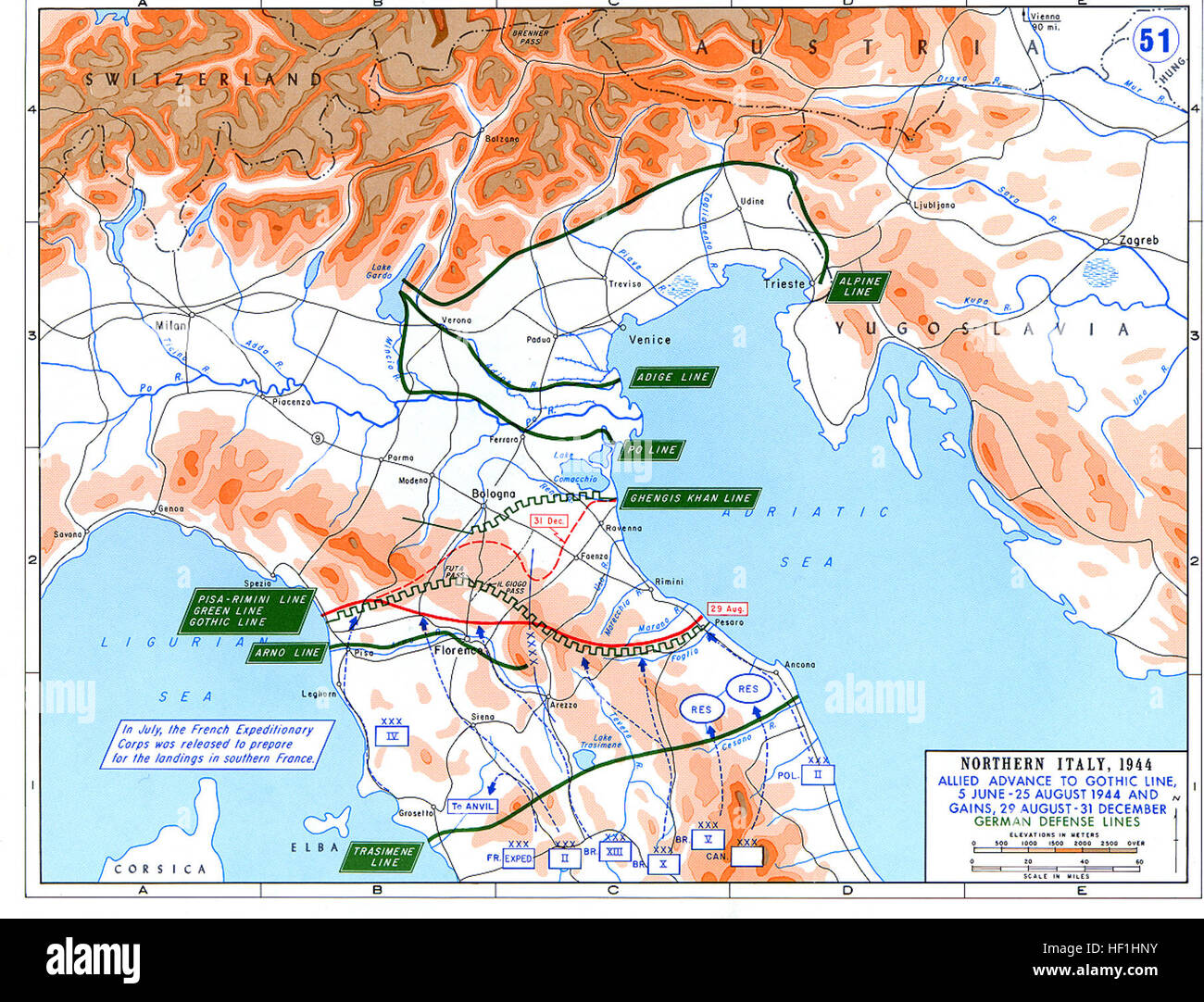Ww2 europe map italy june until december 1944 Stock Photo: 129728311 ...