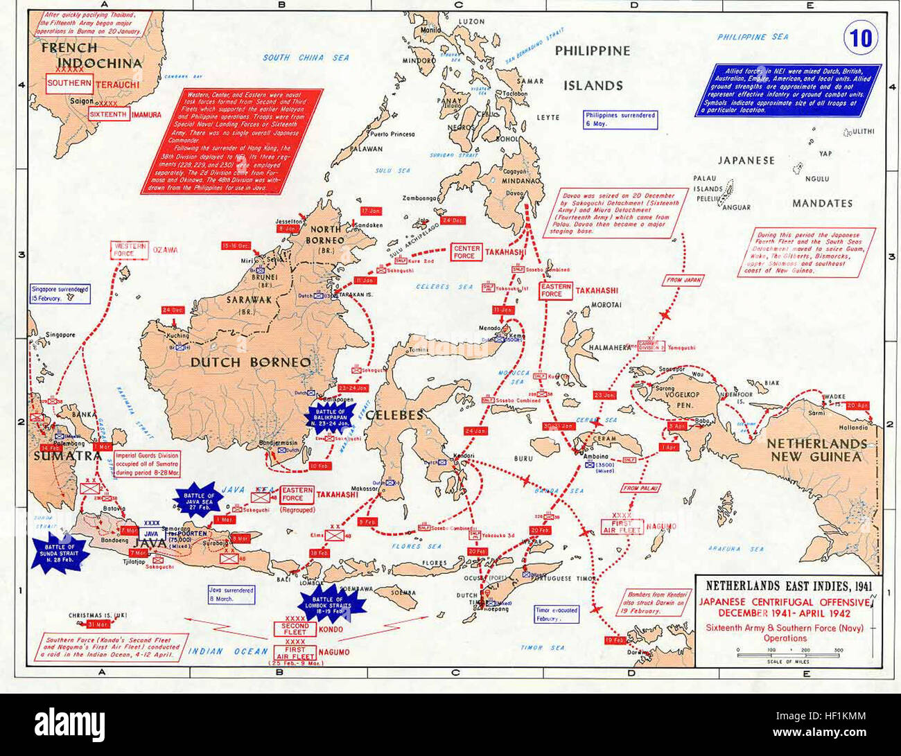 Pacific War - Dutch East Indies 1941-42 - Map Stock Photo
