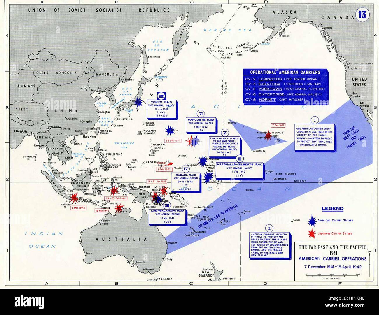 Pacific War - American Carrier OP 1941-42 - Map Stock Photo ...