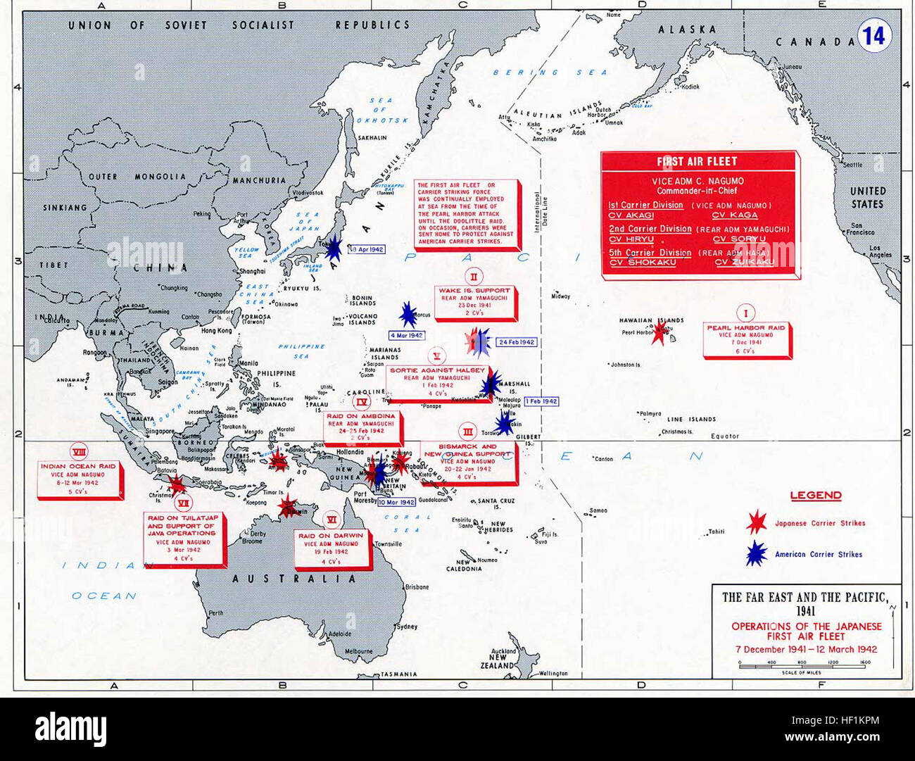 Pacific War - Japanese Carrier OP 1941-42 - Map Stock Photo ...
