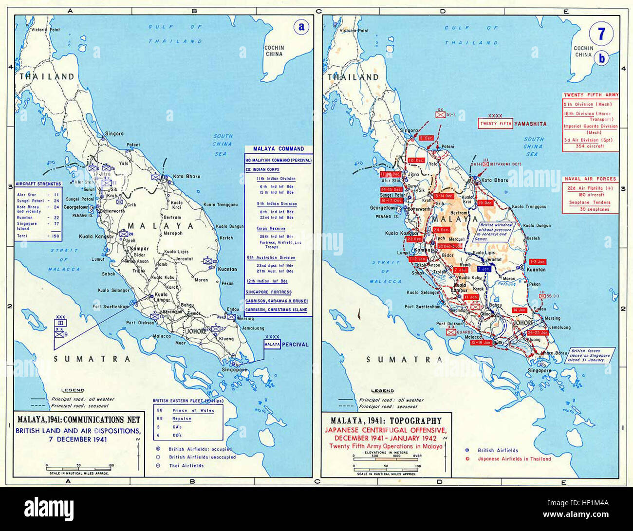 Pacific War - Malaya 1941-42 - Map Stock Photo: 129730170 ...