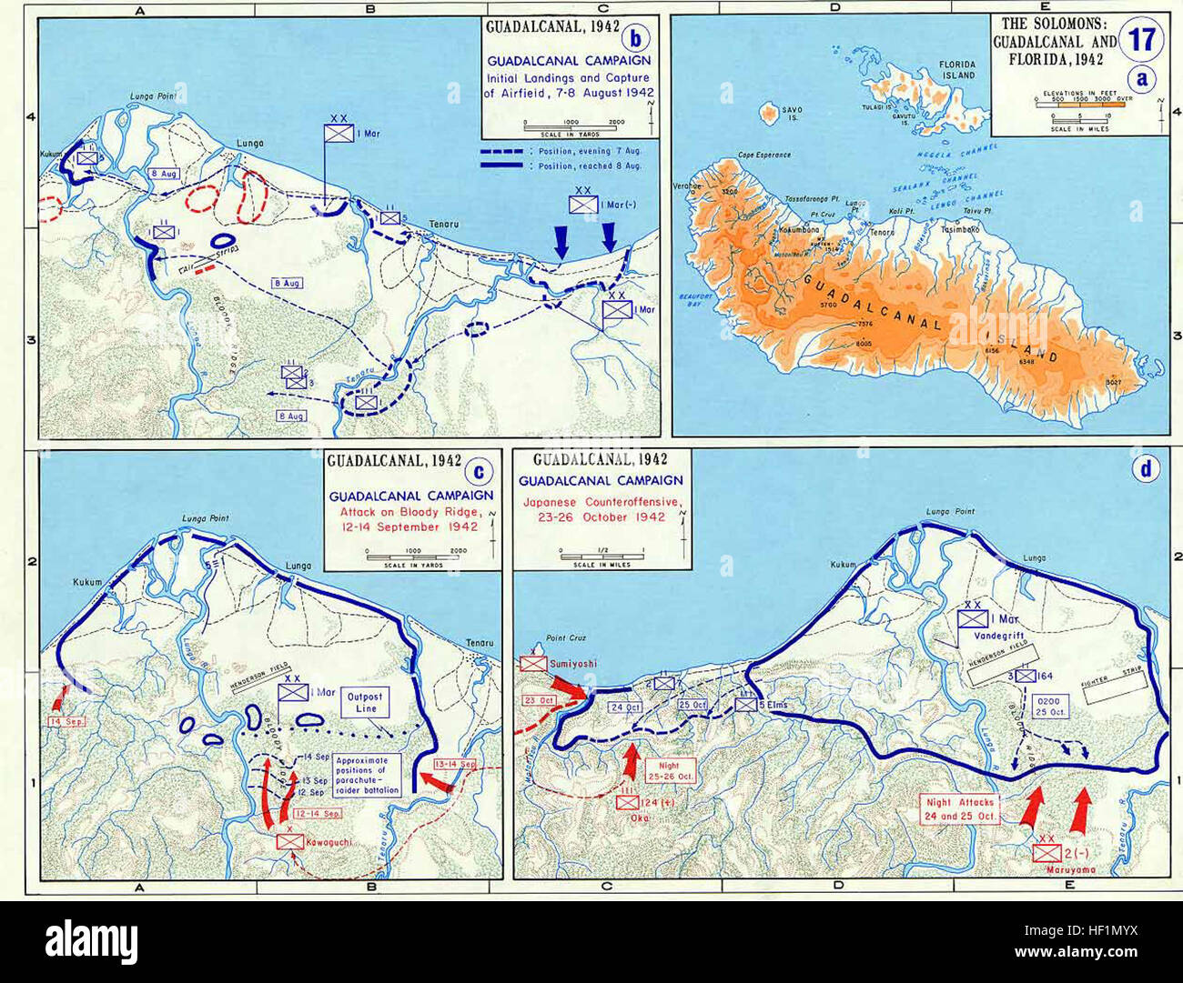 Pacific War - Guadalcanal Campaign 1942 - Map Stock Photo: 129730830