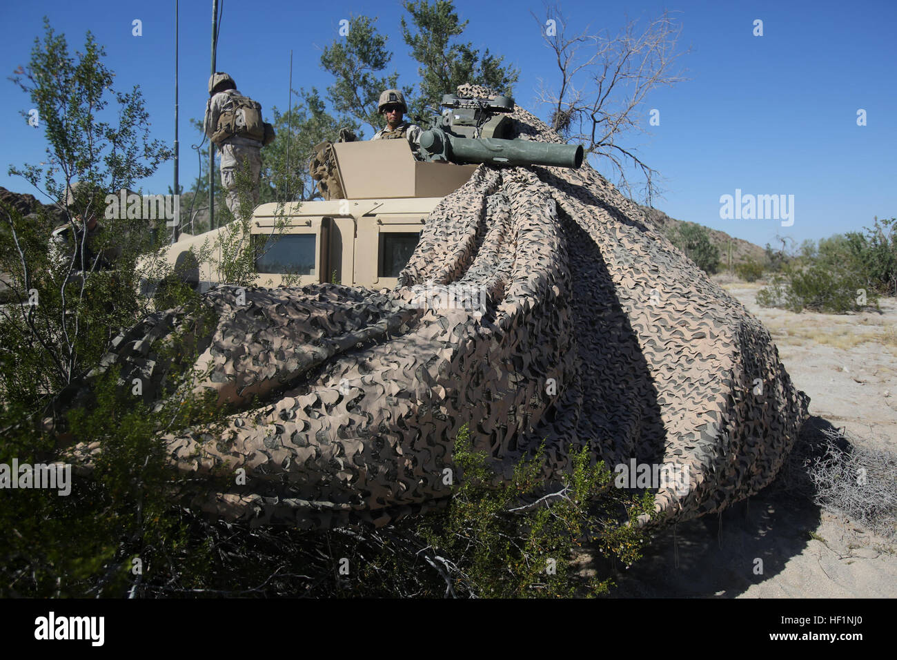 MARINE CORPS AIR STATION YUMA, Ariz. – Lance Cpl. John Hollis, machine gunner, Combined Anti-Armor Team 2, 1st Battalion, - Stock Image