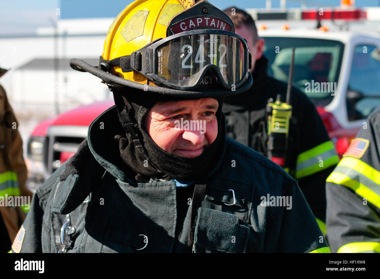 Joseph Tomasella, a civilian fire protection specialist from the New Jersey Air National Guard's 177th Fighter - Stock Image