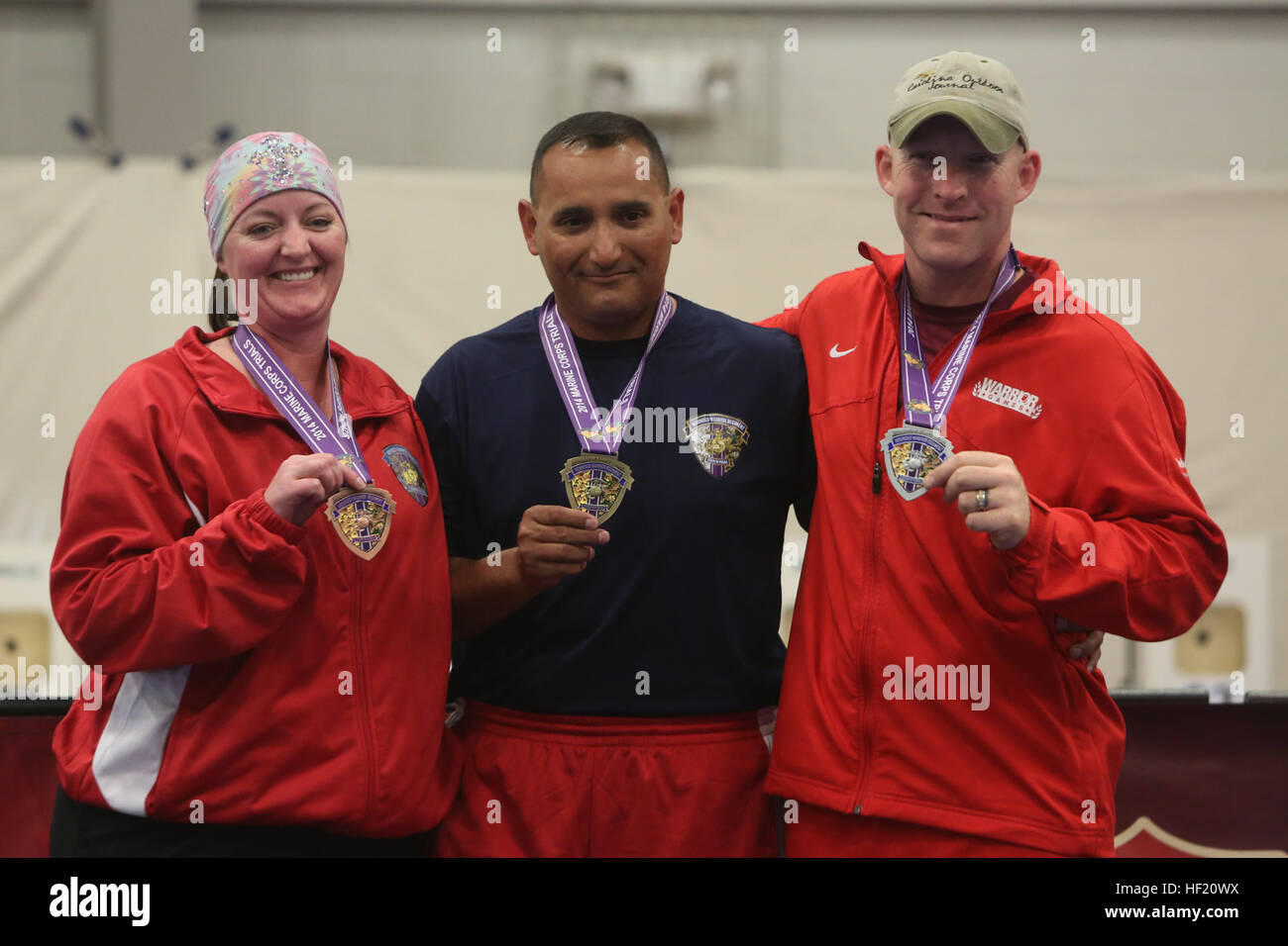 Sgt. Irona Cliver, 33, from Peck, Utah, (left), Gunnery Sgt. John Rojas, 40, from Houston, (center), and Staff Sgt. Stock Photo