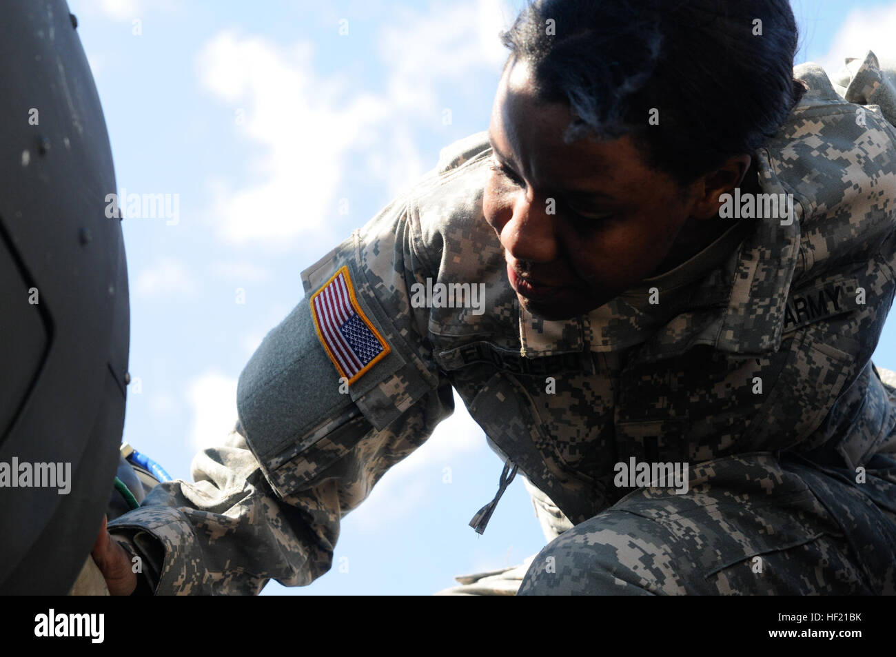 Army 1st Lt. Demetria N. Elosiebo currently a platoon leader with D. Co. (Air Ambulance) 1-224th Aviaton Regiment - Stock Image