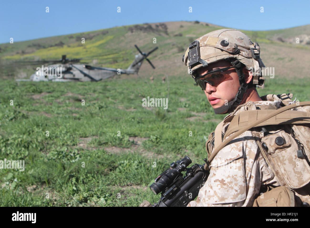 A Marine With Kilo Company 3rd Battalion 5th Marine Regiment Stock