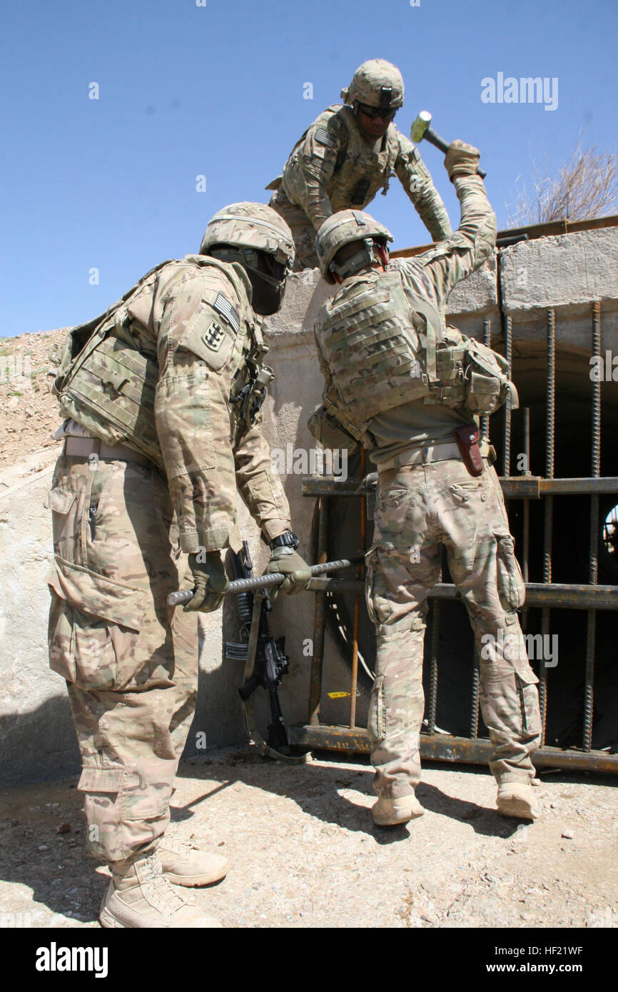 US Army Soldiers With The 65th Engineer Battalion Install Culvert Denial Systems Along Highway 1 In Helmand Province Afghanistan March 24