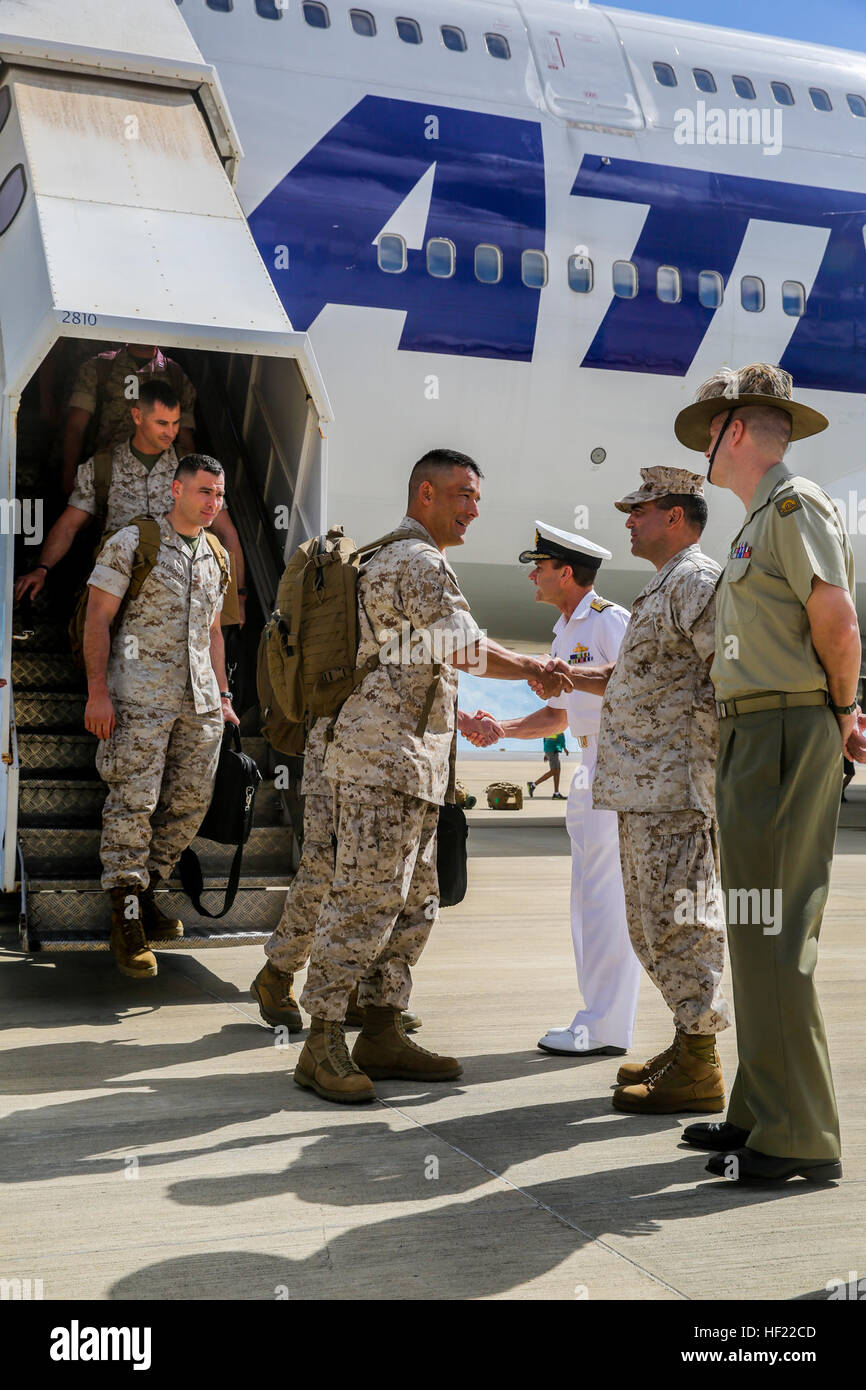 Lt. Col. Keven Matthews, commanding officer, Marine Rotational Force - Darwin is the first Marine off the plane Stock Photo