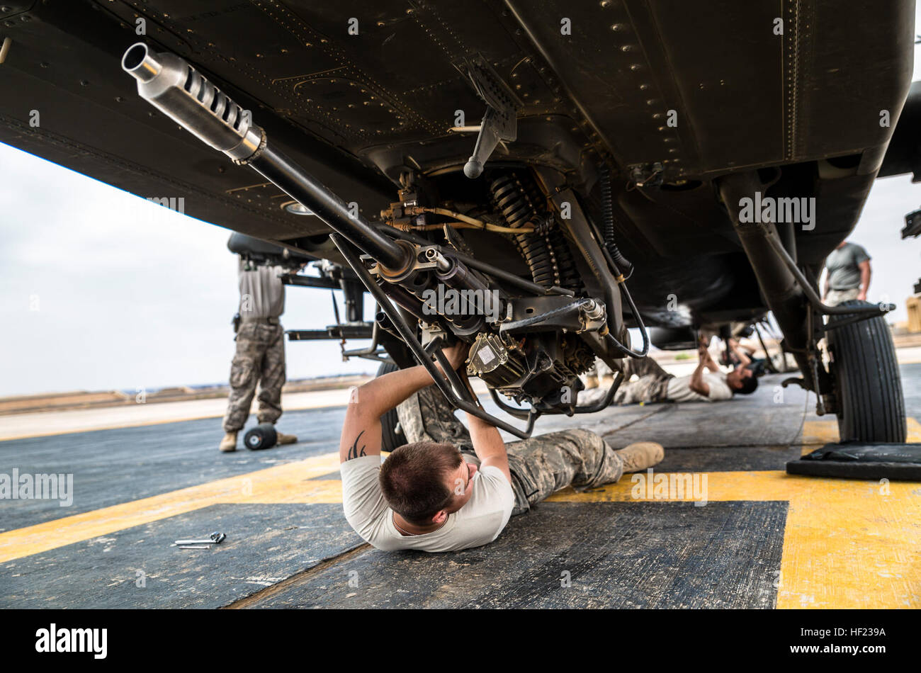U.S. Army soldiers from 4th Battalion, 227th Attack Reconnaissance Battalion, 42nd Combat Aviation Brigade, prepare Stock Photo