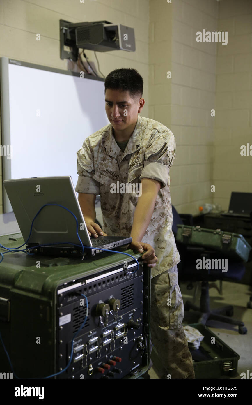 Lance Cpl. Jurando Emiliano provides communication capabilities to Marine Wing Support Squadron 271 May 13, at Marine - Stock Image