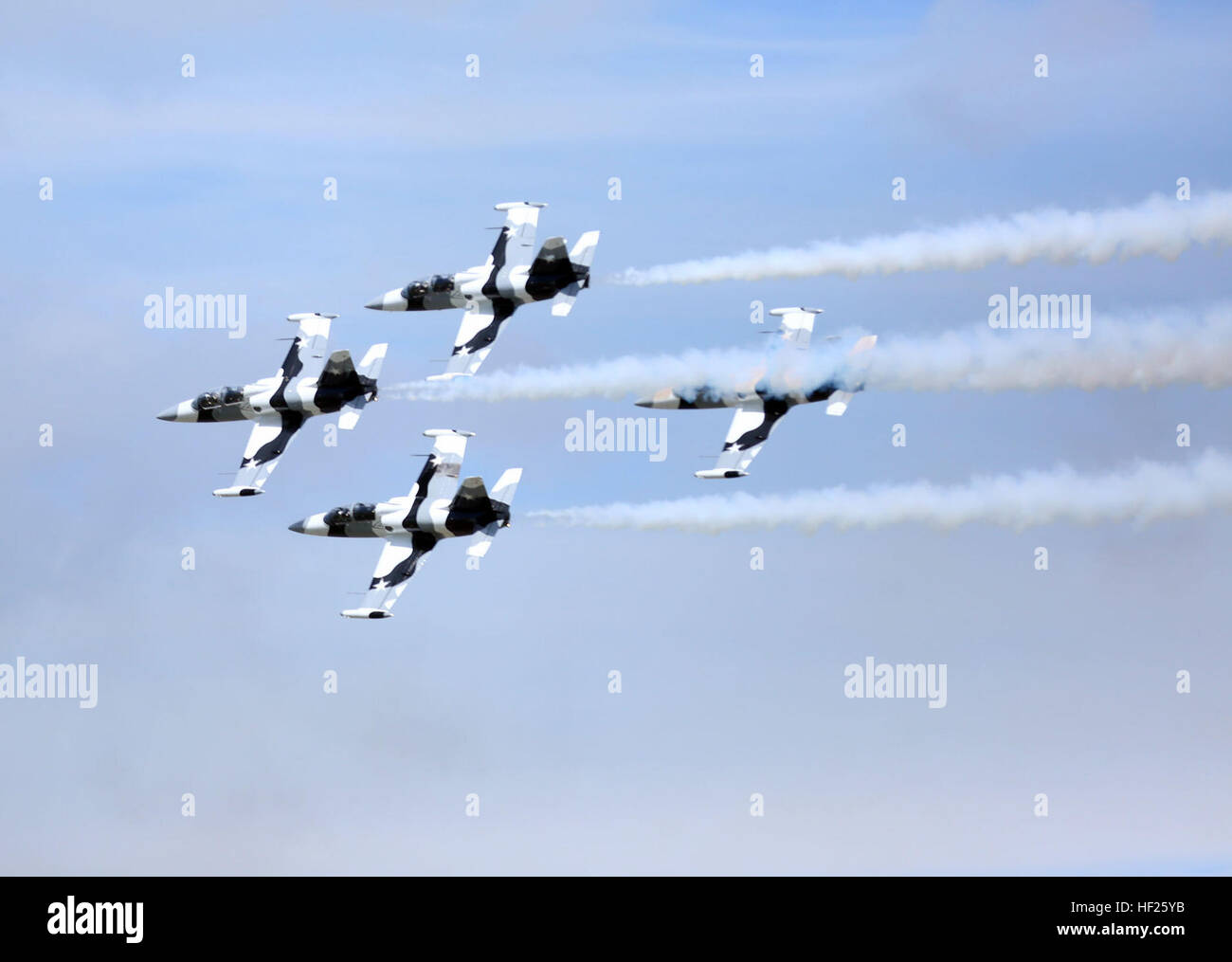 MCAS CHERRY POINT, NC -- The Black Diamond Jet Team performs a rehearsal flight before the 2014 Marine Corps Air Stock Photo
