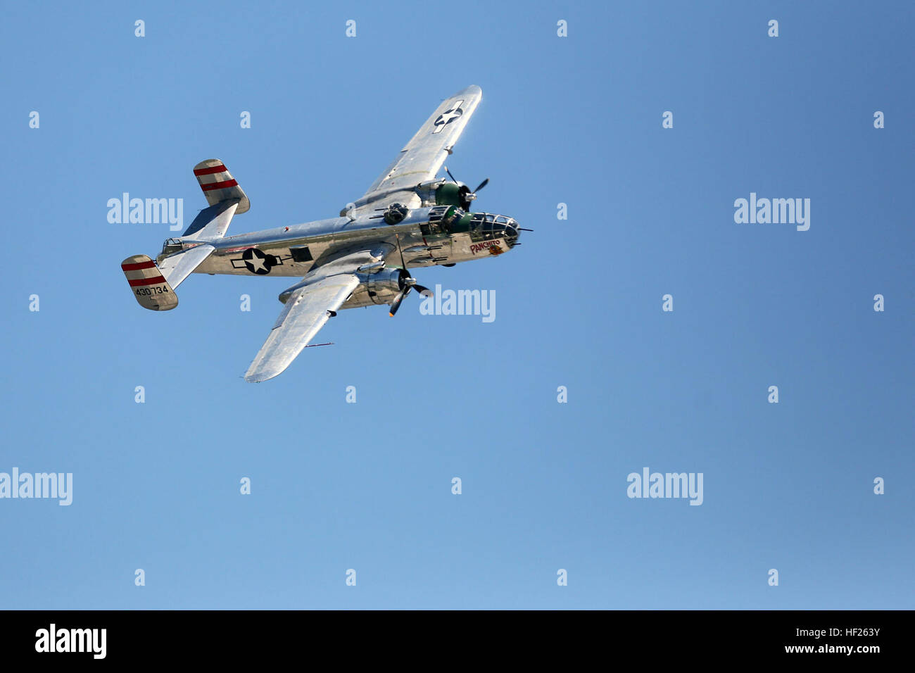 The B25J WWII-era bomber flys during the 2014 Marine Corps Air Station Cherry Point Air Show. This year's air show, Stock Photo