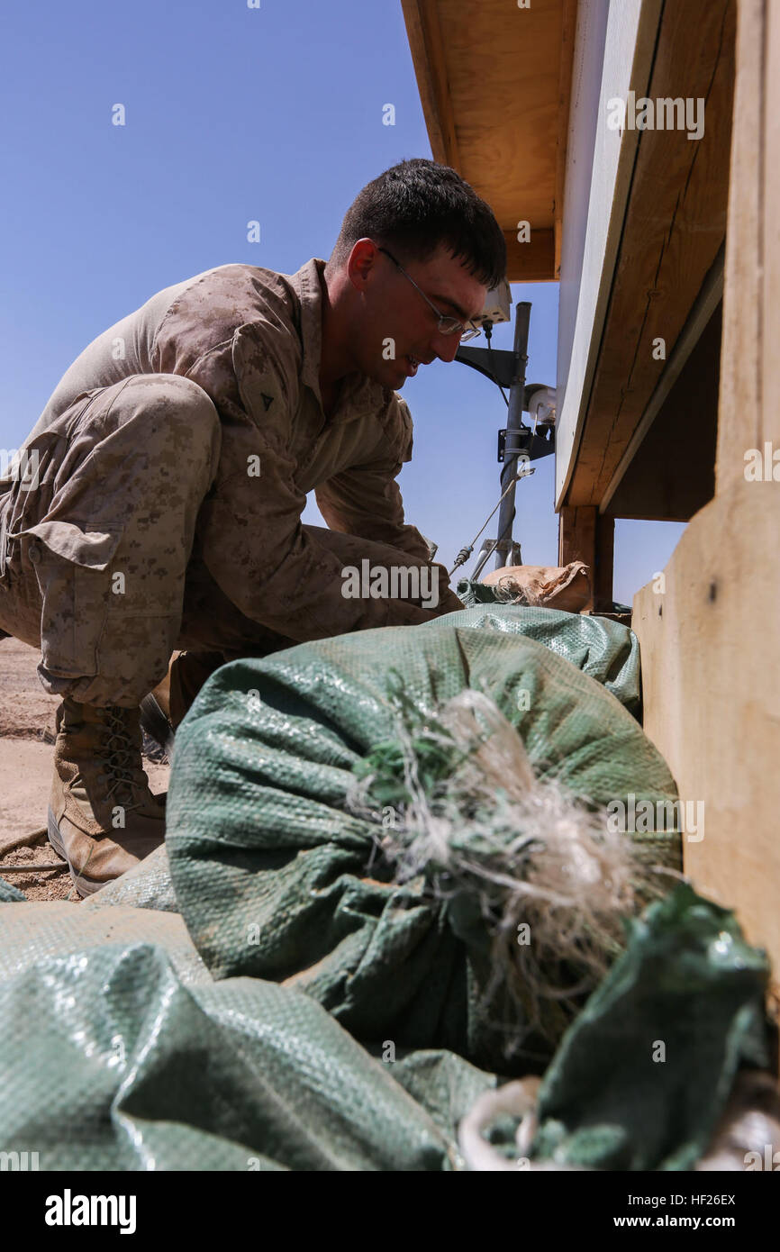 U.S. Marine Corps Combat Engineer, Lance Cpl. Cody Pullen, assigned to Charlie Company, 1st Battalion, 2nd Marine - Stock Image