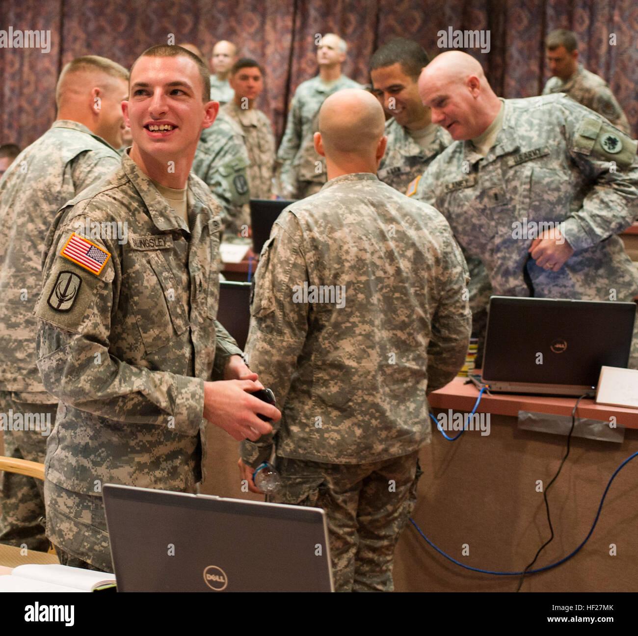 South Carolina National Guardsman Staff Sgt. James Billingsly confirms Team National Guard's win during the U.S. Stock Photo