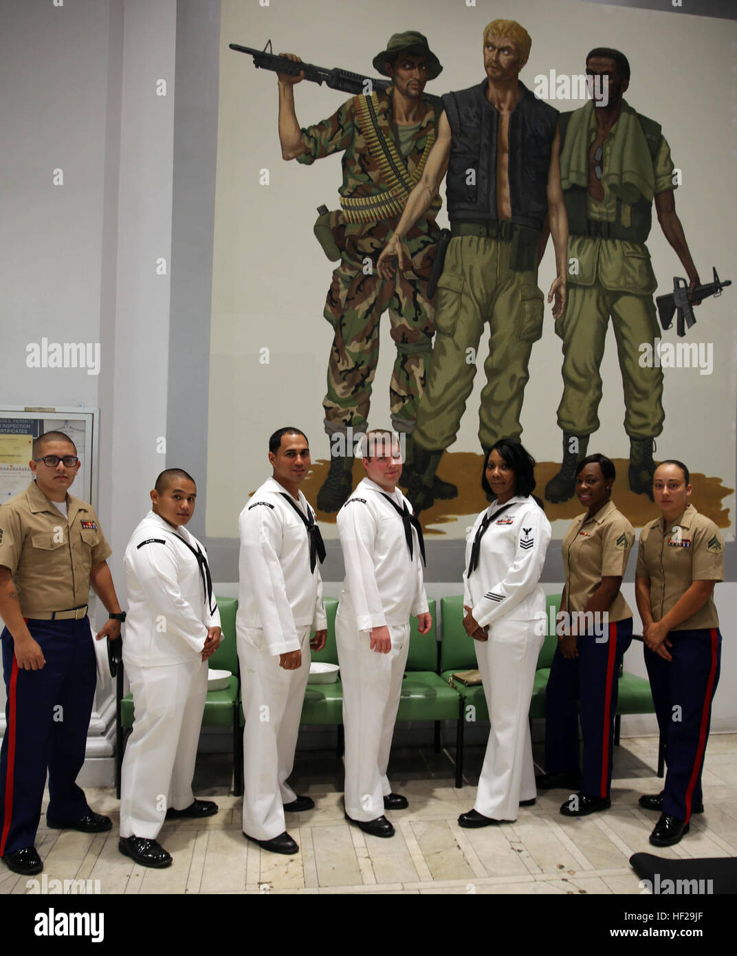Marines and sailors attached to the USS Oak Hill volunteered at the New England Center for Homeless Veterans in - Stock Image