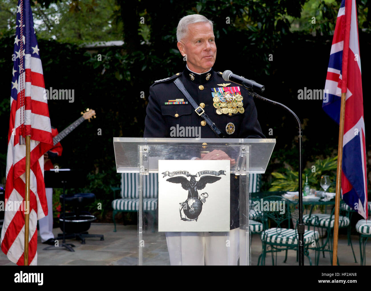 The Commandant of the U.S. Marine Corps, Gen. James F. Amos, gives an address during an Evening Parade reception Stock Photo
