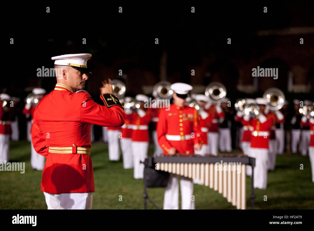 Members of the U.S. Marine Drum and Bugle Corps perform during an Evening Parade at Marine Barracks Washington in Stock Photo
