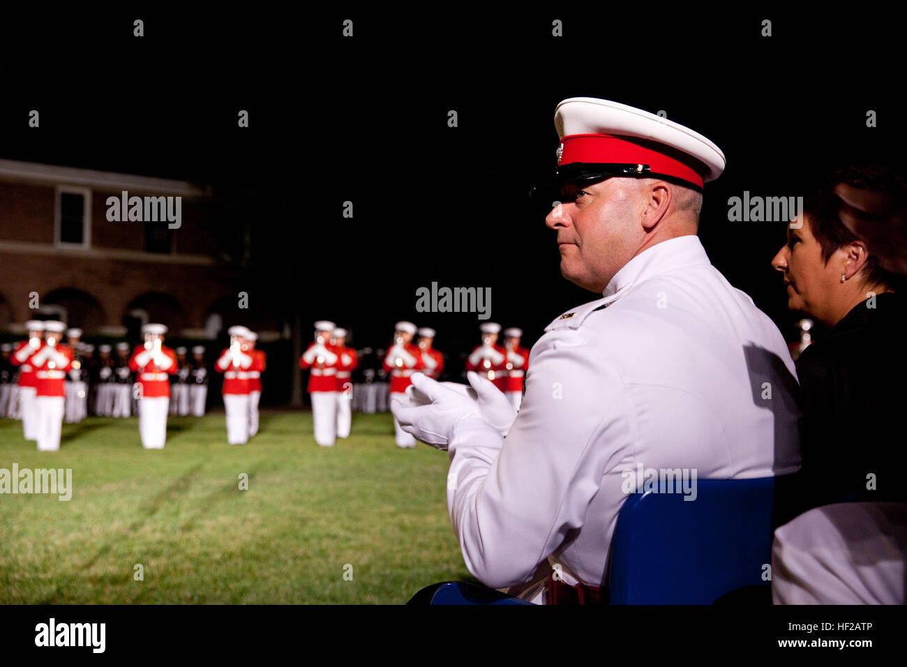 The Corps Regimental Sergeant Major of the British Royal Marines, Sgt. Maj. Alistar McGill, attends an Evening Parade Stock Photo