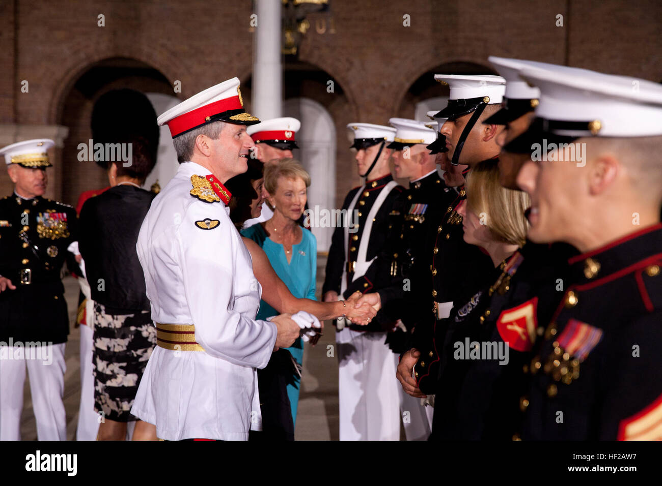 The Evening Parade guest of honor, Commandant General of the British Royal Marines Maj. Gen. Martin Smith, center Stock Photo