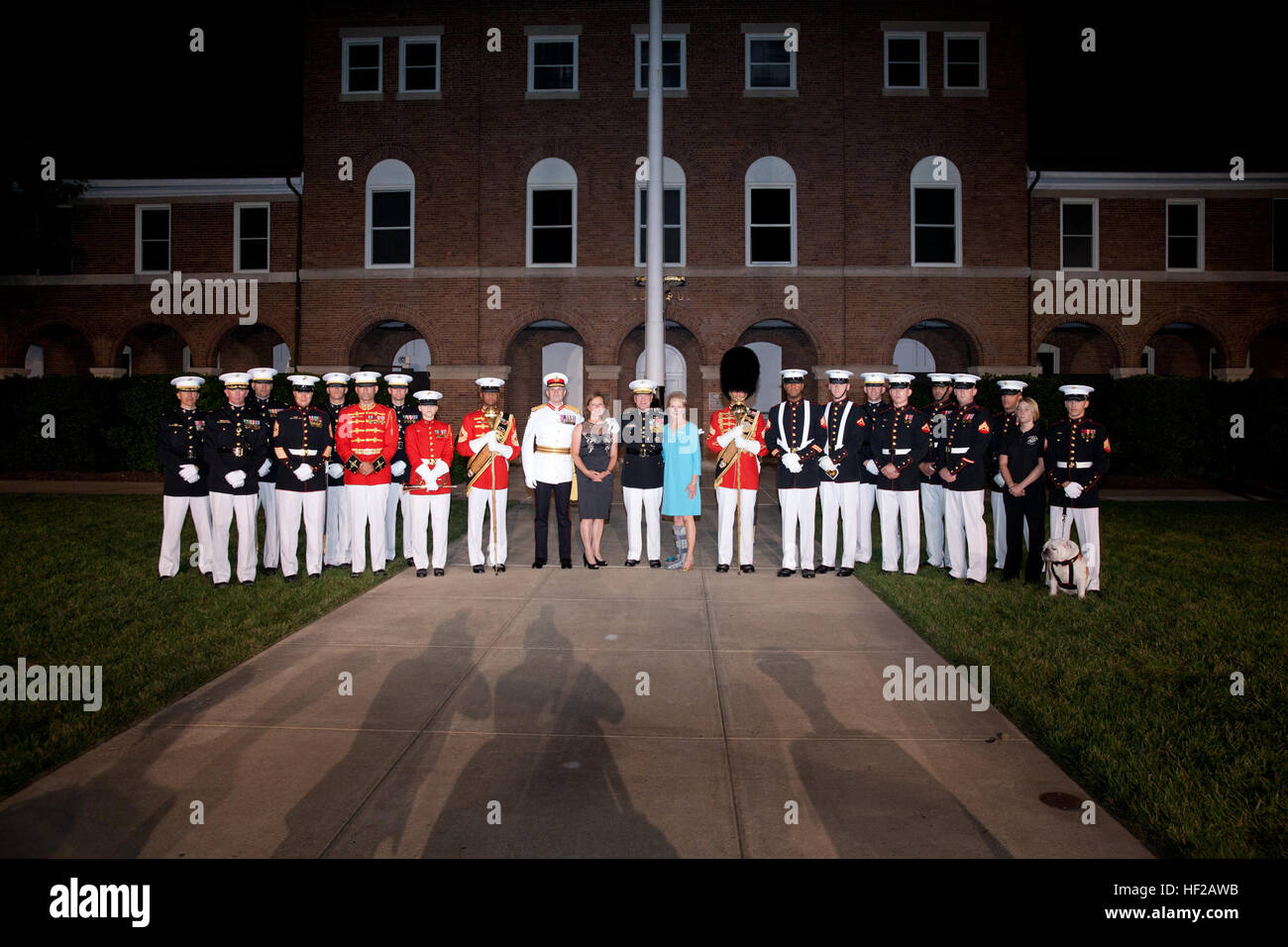 From center left, the Evening Parade guest of honor, Commandant General of the British Royal Marines Maj. Gen. Martin Stock Photo