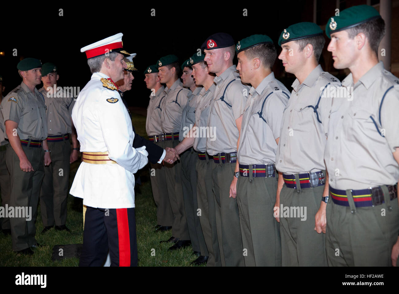 The Evening Parade guest of honor, Commandant General of the British Royal Marines Maj. Gen. Martin Smith, left, Stock Photo