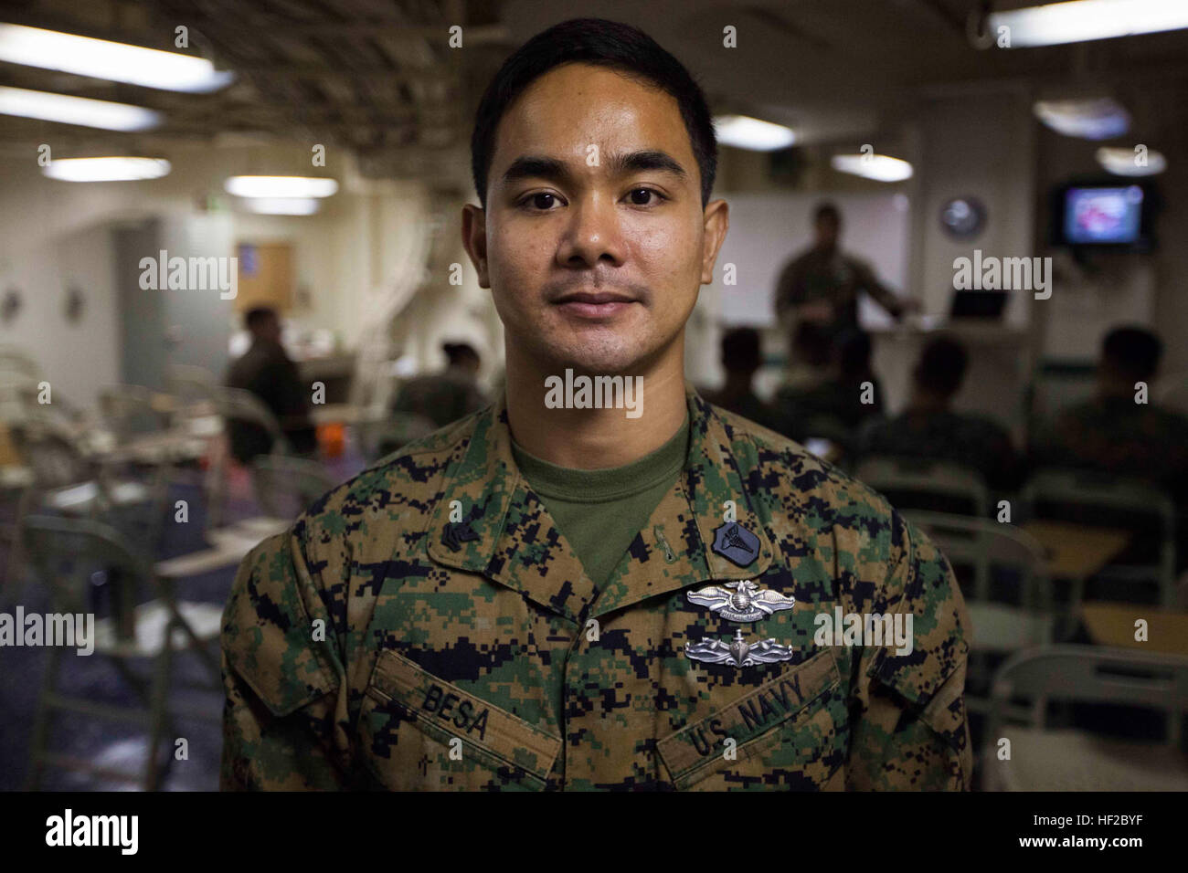 Petty Officer 2nd Class Gabriel Besa, Navy hospital corpsman with Special Purpose Marine Air Ground Task Force South, Stock Photo