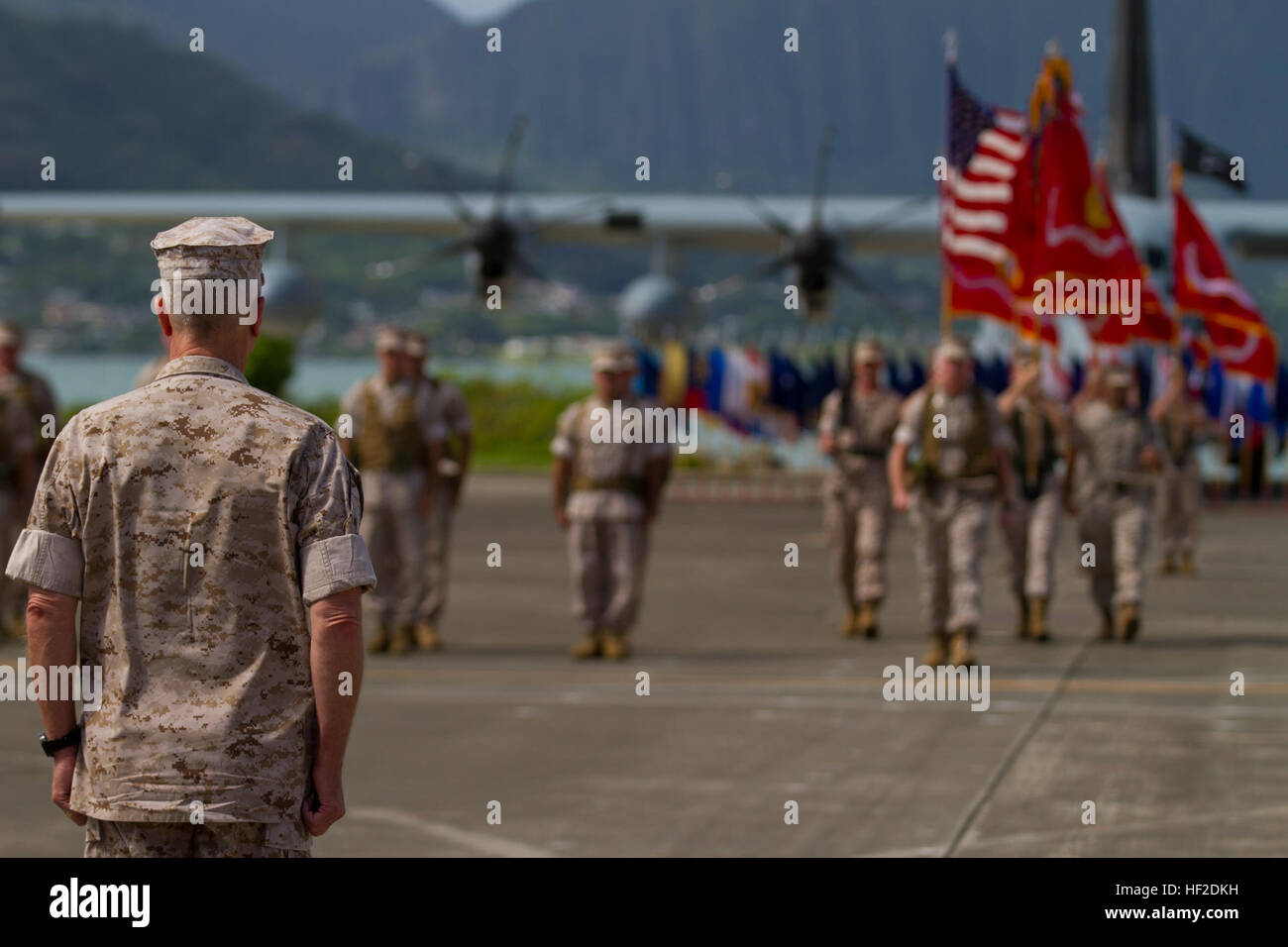U.S. Marine Corps Gen. James F. Amos, commandant of the Marine Corps, stands at attention during the U.S. Marine Stock Photo