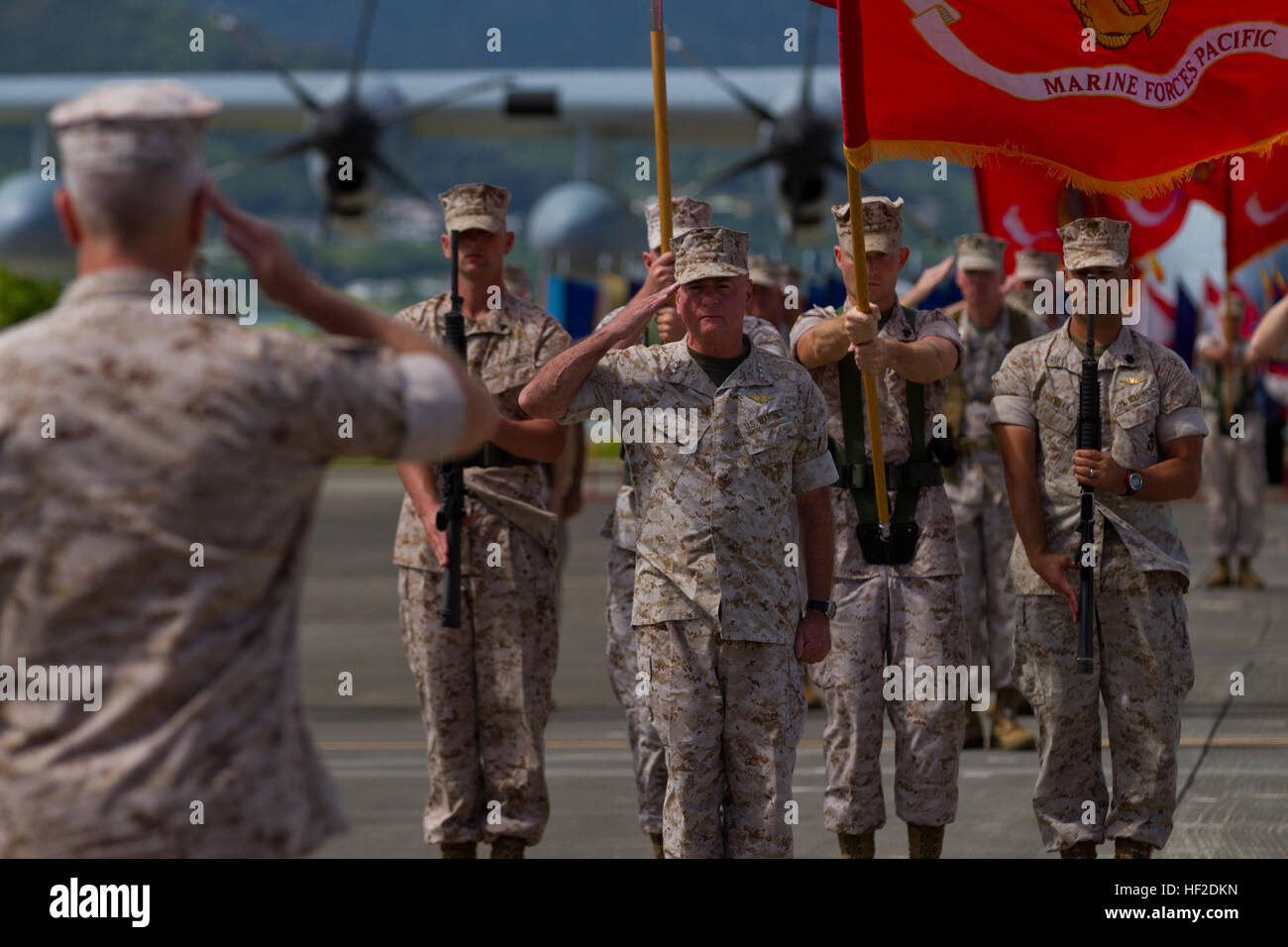 U.S. Marine Corps Gen. James F. Amos, commandant of the Marine Corps, salutes the colors during U.S. Marine Corps Stock Photo