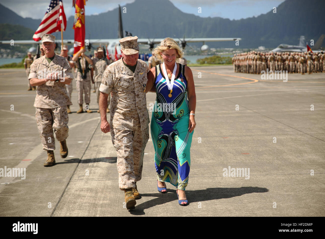 Lt. Gen. Terry Robling, former commander of Marine Forces Pacific, walks of the parade deck with his wife, Cathe, Stock Photo