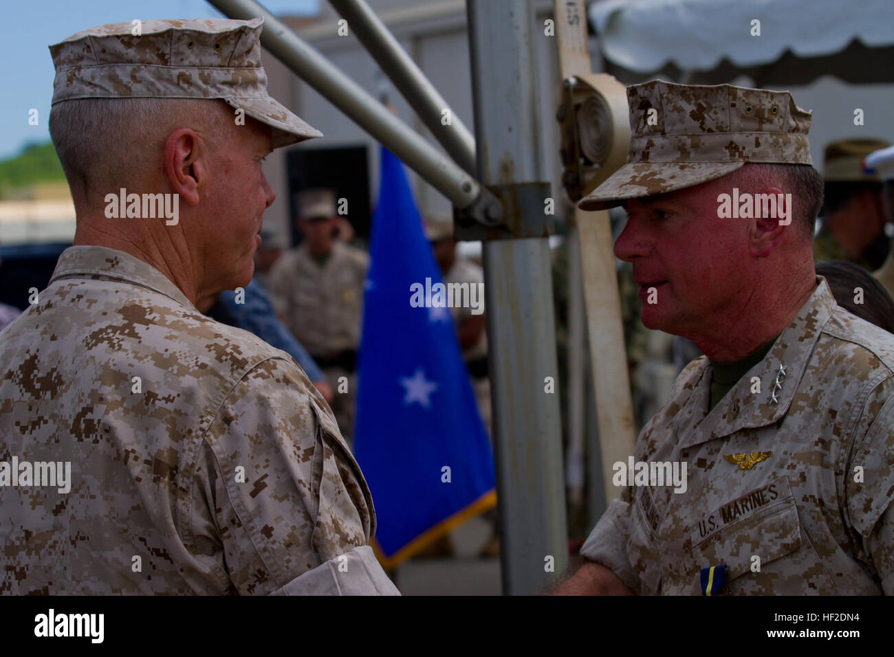 U.S. Marine Corps Gen. James F. Amos, commadant of the Marine Corps, and Lt. Gen. Terry G. Robling, former commander, Stock Photo