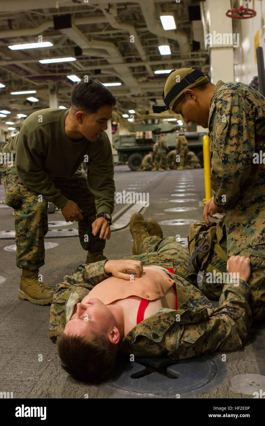 Petty Officer 2nd Class Gabriel Besa, a combat lifesaver instructor with Special Purpose Marine Air Ground Task Stock Photo