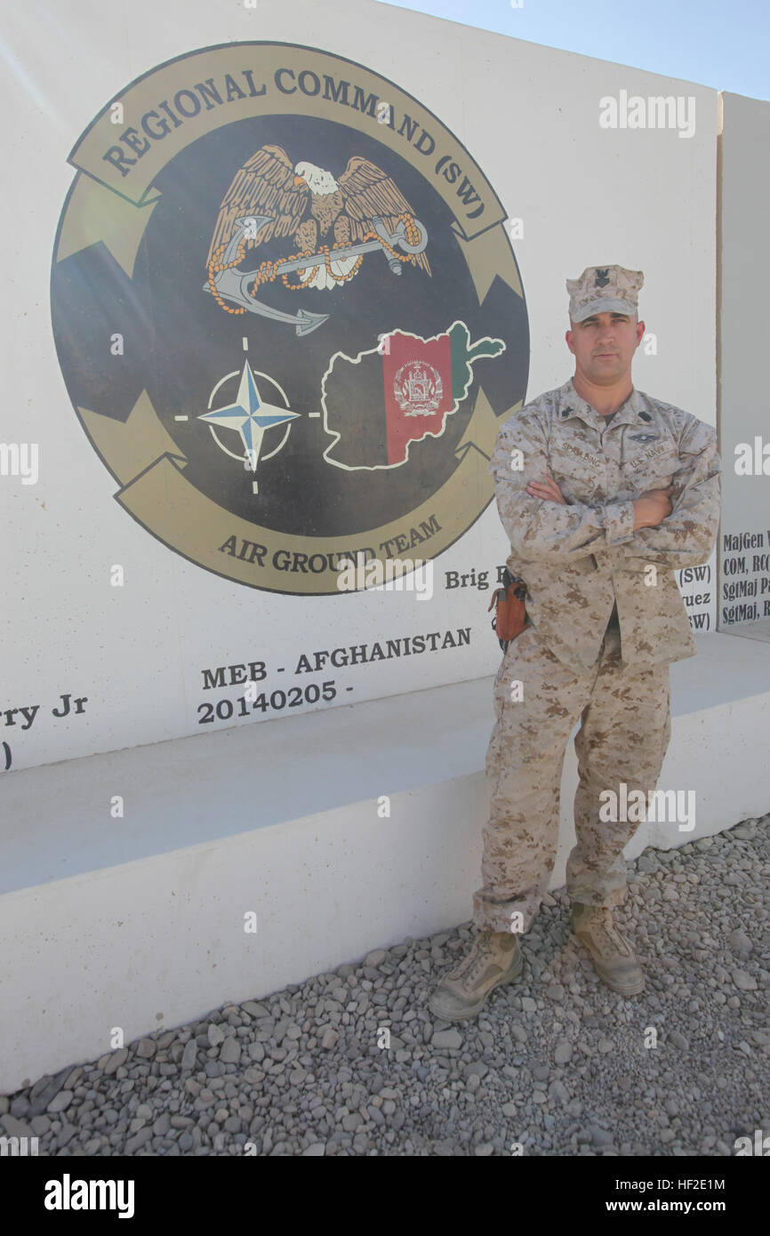 Petty Officer 1st Class Aaron Spaulding, the senior medical department representative with Marine Expeditionary - Stock Image