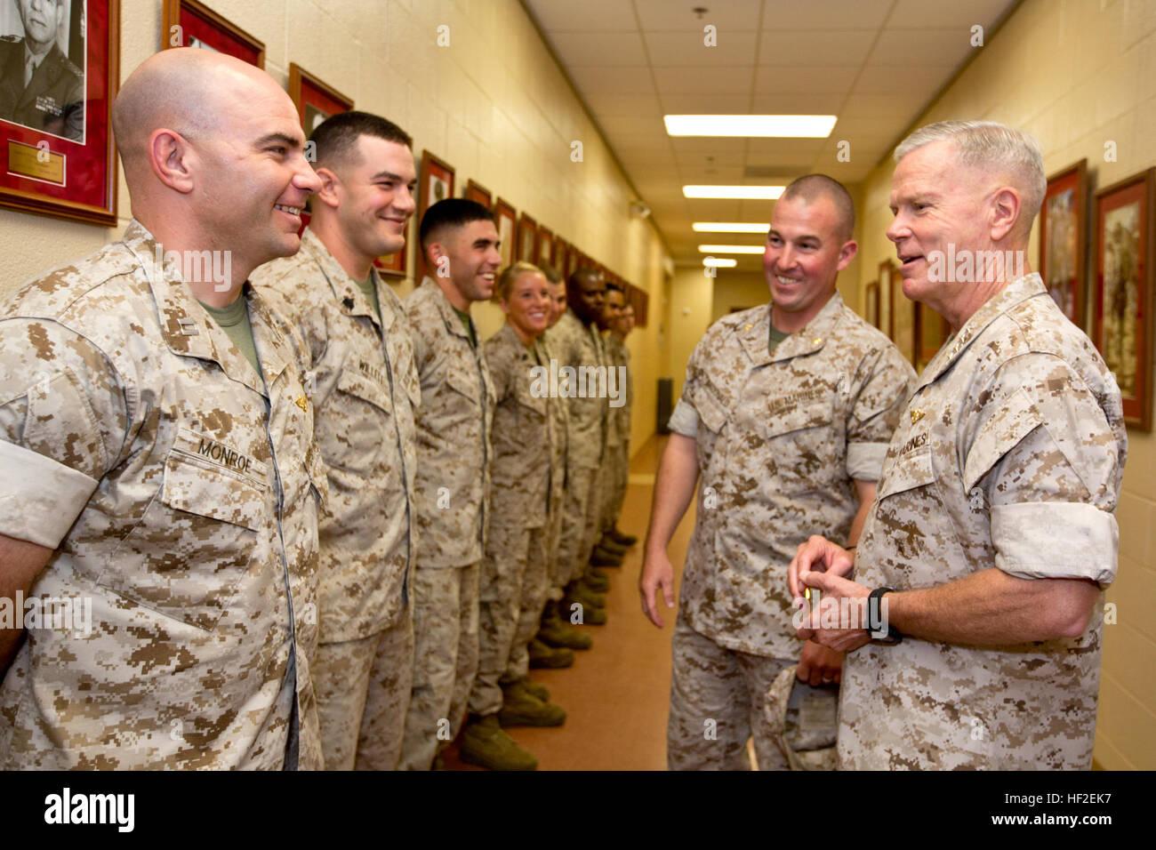U.S. Marine Corps Maj. Matthew F. McDonald, center right, company commander, introduces Capt. Robert Monroe, left, Stock Photo