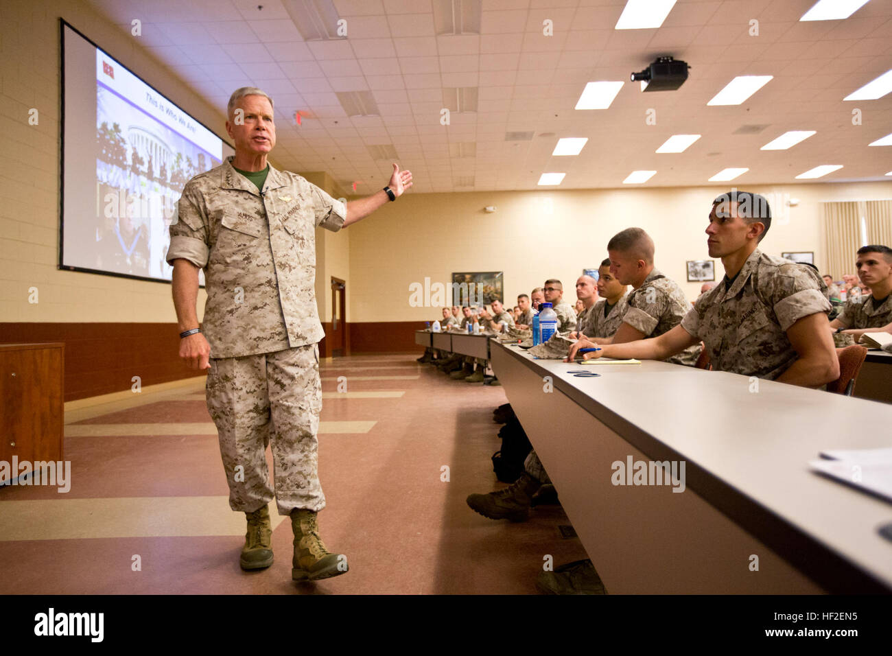 Commandant of the U.S. Marine Corps, Gen. James F. Amos, speaks to Marines with charlie company (C CO), The Basic Stock Photo