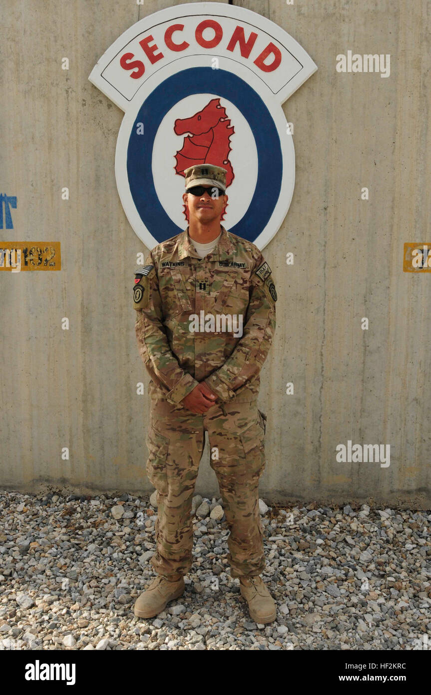 Capt. Uriah Watkins, a native of Rexburg, Idaho, who serves as a brigade planner with the 2D Engineer Brigade, out - Stock Image