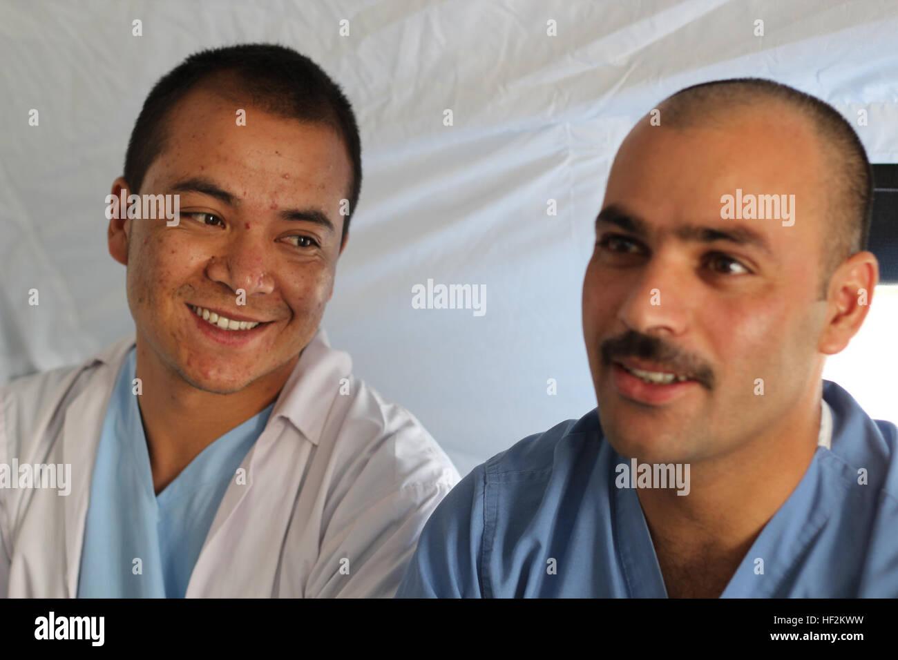 Afghan National Army Sgt. Maj. Habiballah Begi (left), an intensive care unit nurse, and Sgt. Maj. Delagha Stanikzai, - Stock Image