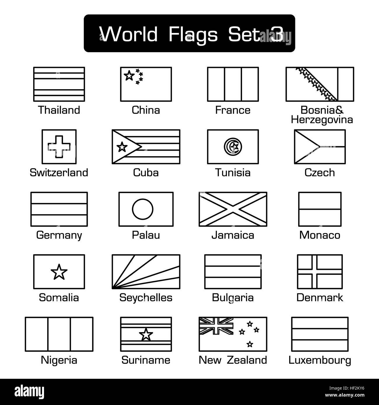 World flags set 3 . simple style and flat design . thick outline . - Stock Image