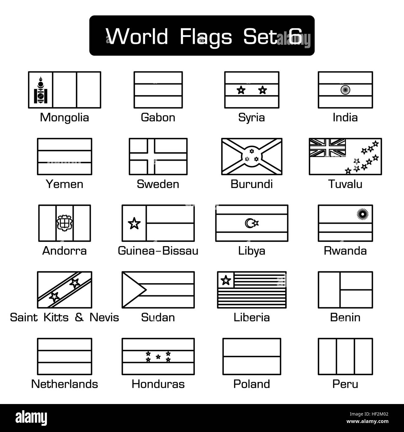 world flags set 6 simple style and flat design thick