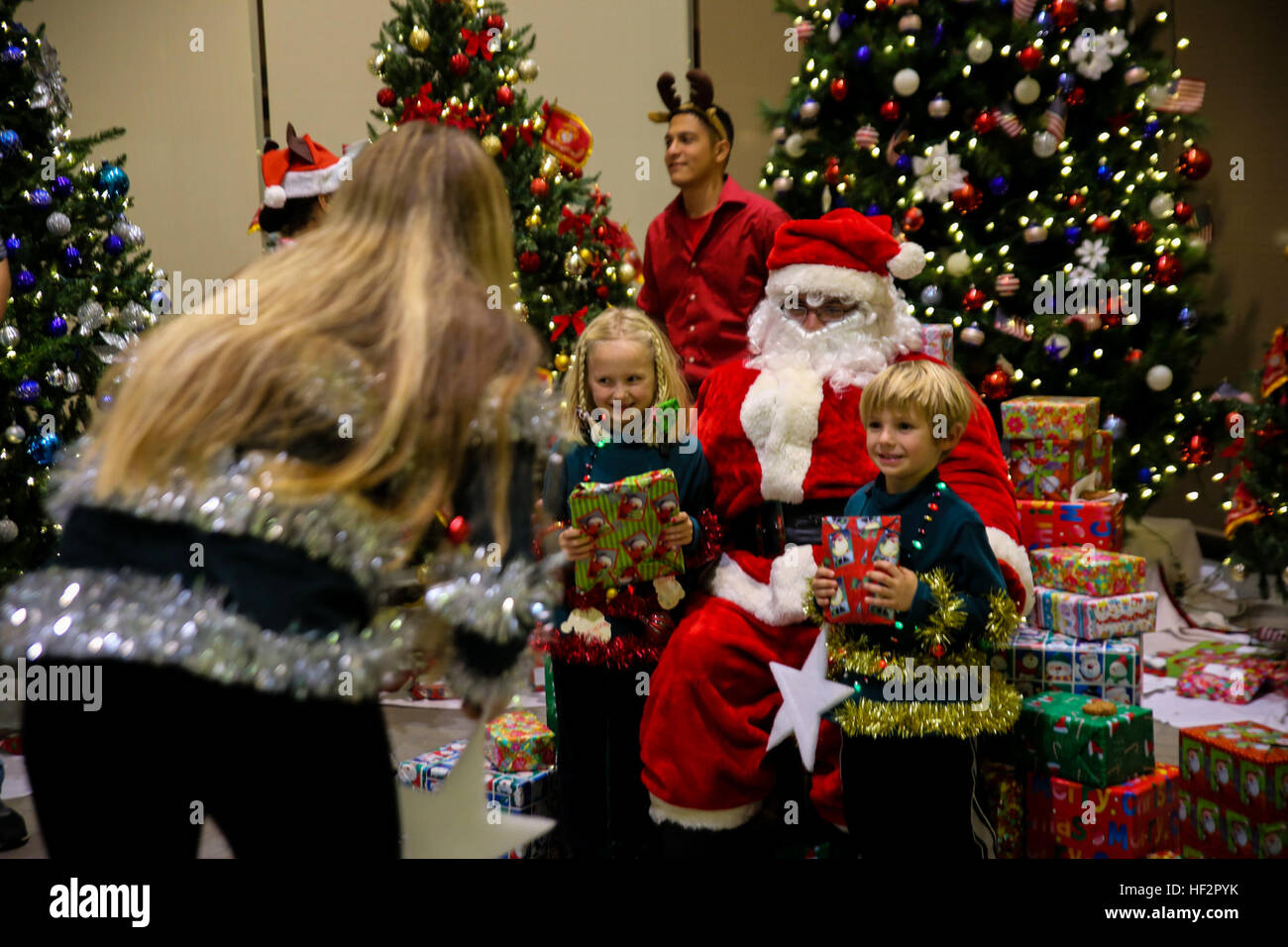 Santa Claus gives gifts to the children of Marines and sailors Stock ...