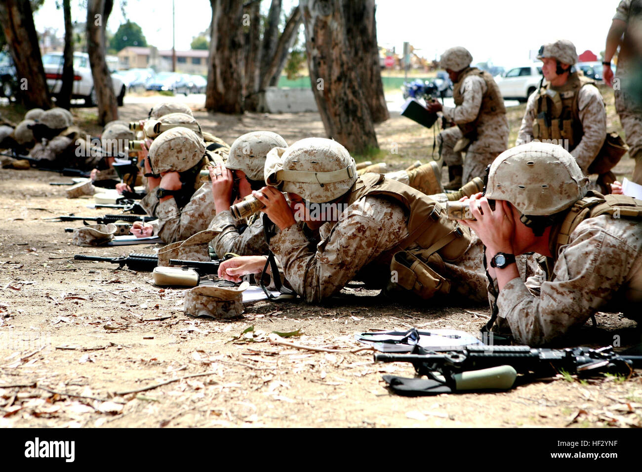 Marines with Military Police Company, Combat Logistics Regiment 17, 1st Marine Logistics Group, search for items - Stock Image