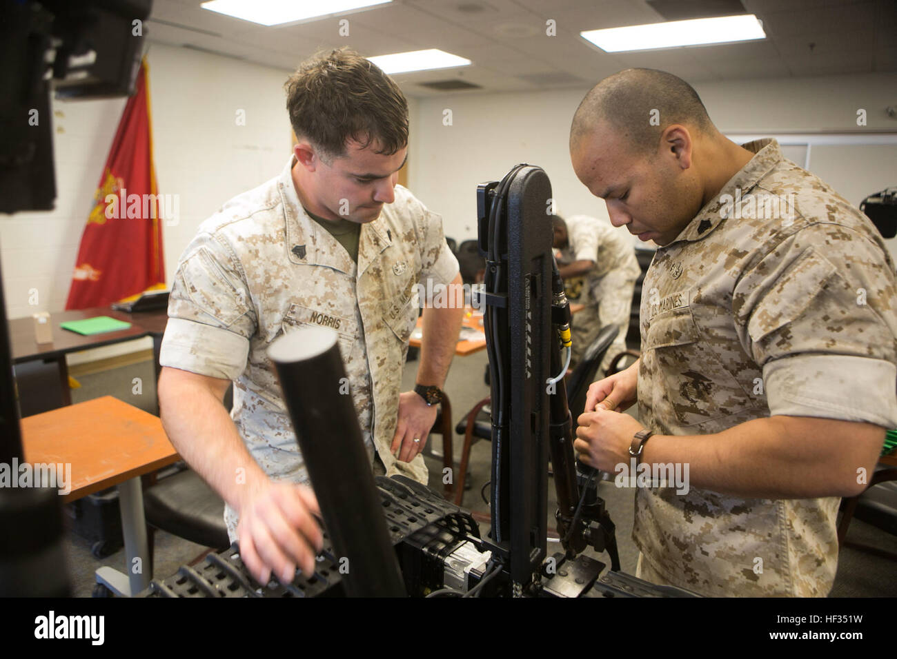 Sergeant Paul Faucheux, right, and Sgt. Jacoby Norris, explosive ordnance disposal technicians with 2nd EOD Company, - Stock Image
