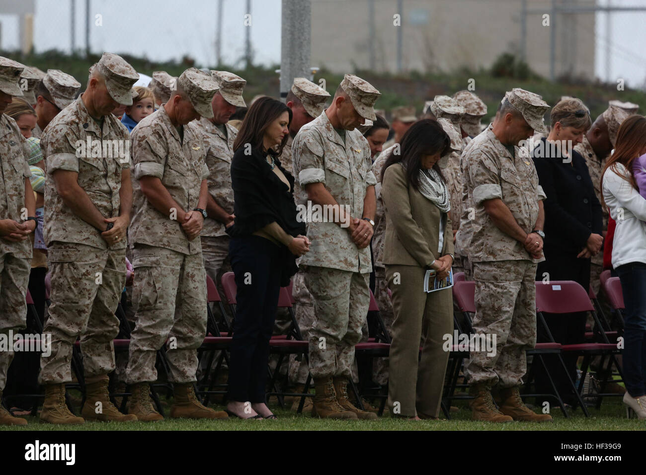 U.S. Marine Corps Maj. Gen. Michael Rocco, commanding general of 3rd Marine Aircraft Wing (MAW), and assembled guests - Stock Image