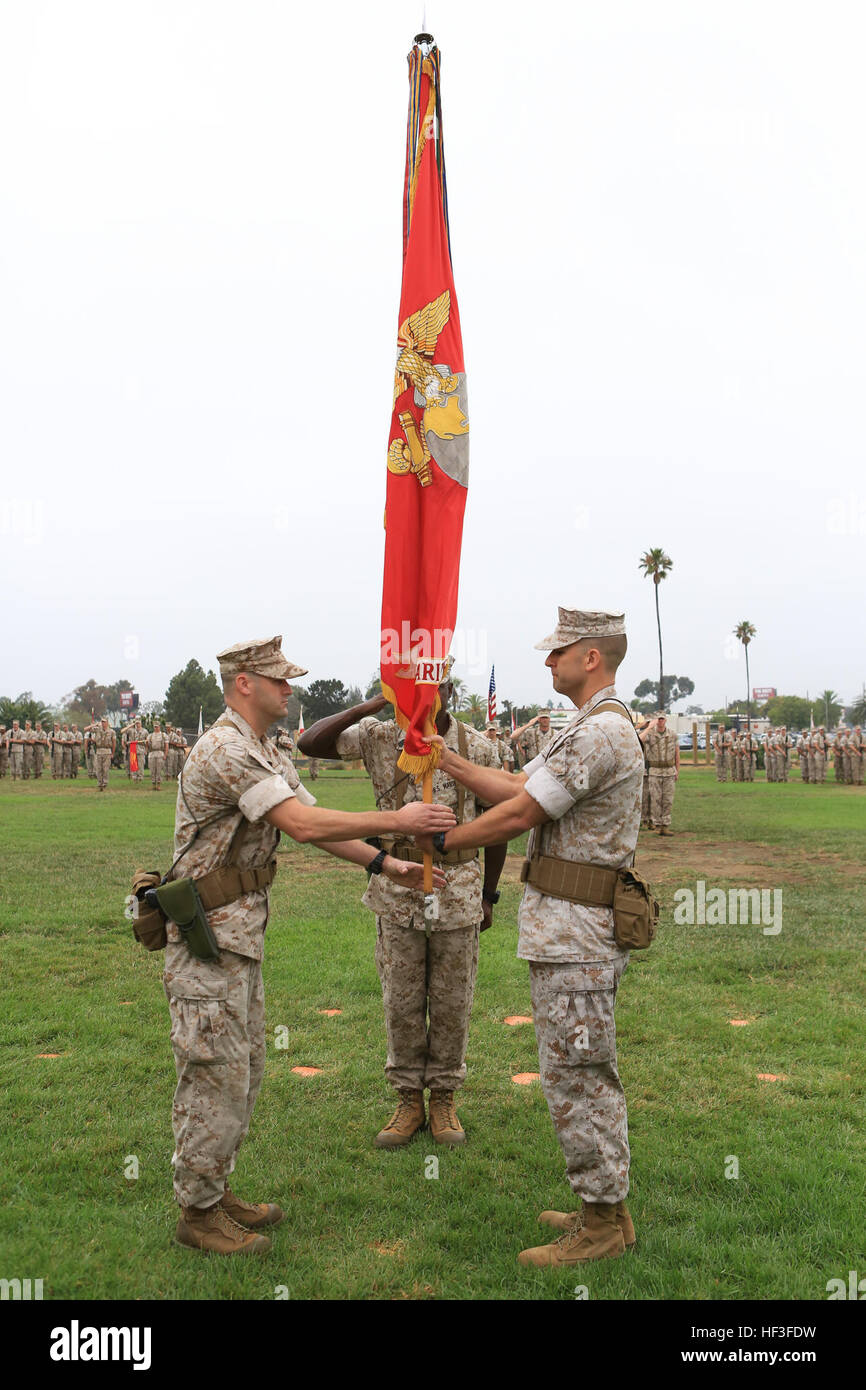 The outgoing commanding officer of Marine Wing Headquarters Squadron 3 (MWHS-3), 3d Marine Aircraft Wing (MAW), Stock Photo