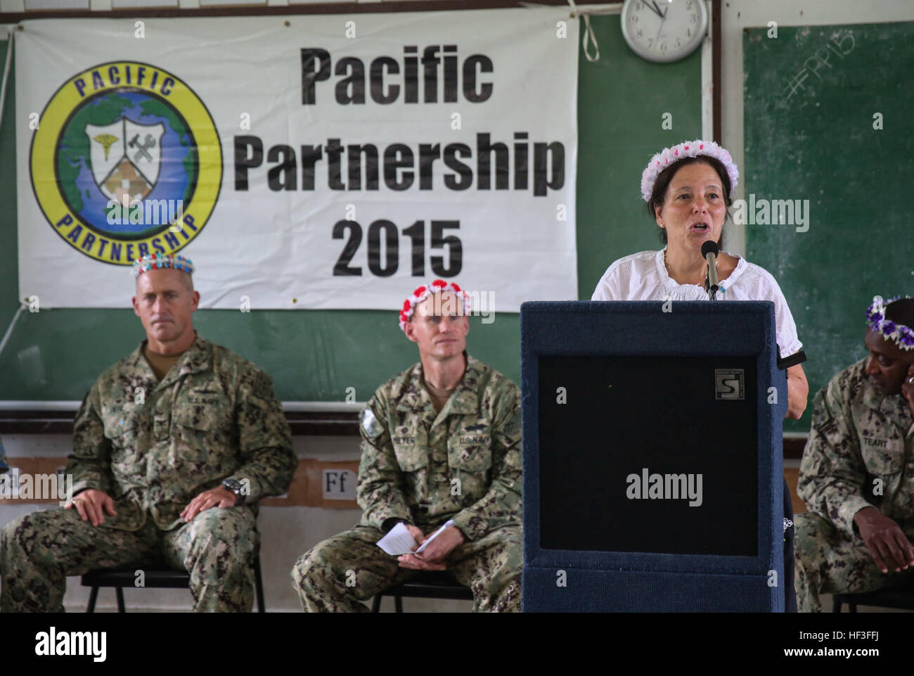 U.S. Ambassador to the Federated States of Micronesia Doria Rosen thanks members of Pacific Partnership 2015 after Stock Photo