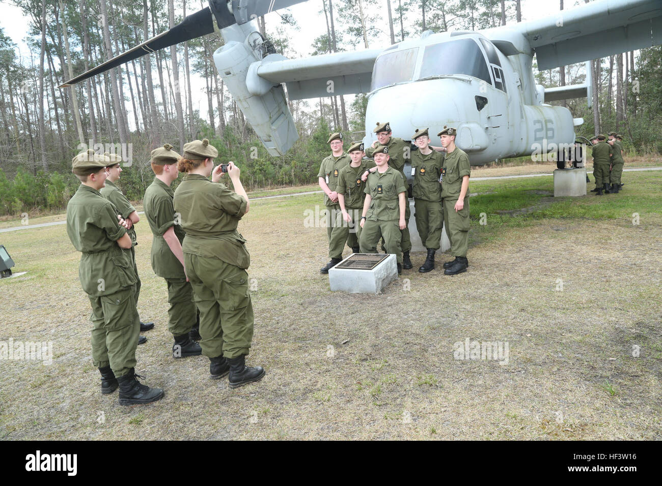 Cadets with The Argyll & Sutherland Highlanders of Canada, 2347 Regimental  Army Cadet Corps visit the Aviation Memorial at Marine Corps Air Station  New ...