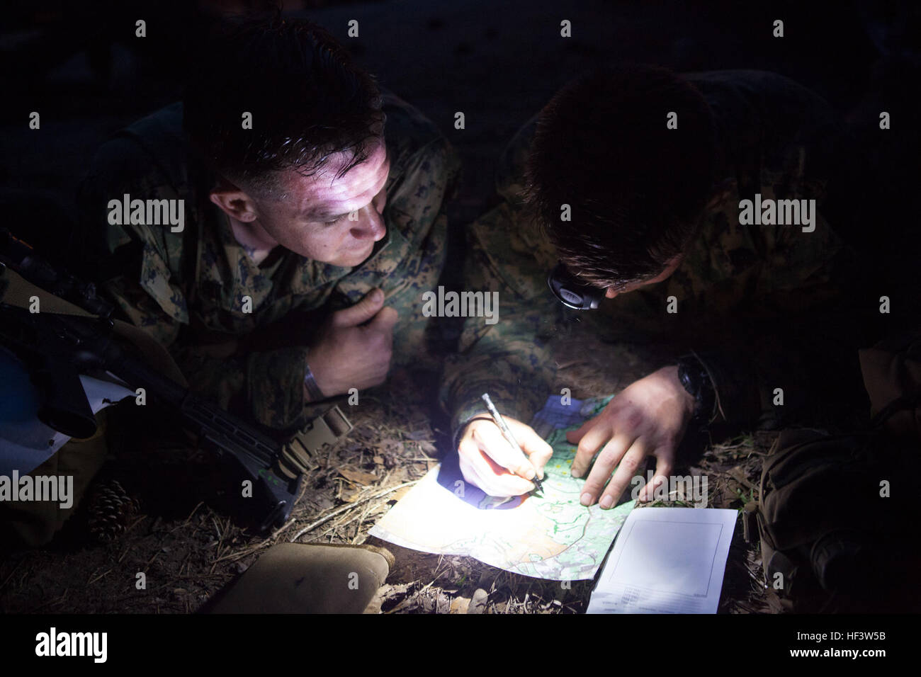 U S Marines From The School Of Infantry East Plot Points On A Map