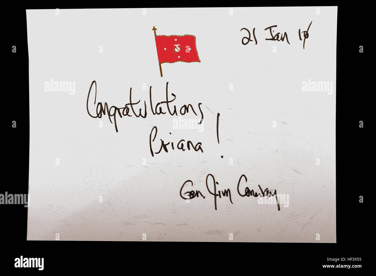 A signed message from Gen. James T. Conway, commandant of the Marine Corps, was included in Briana Menendez' Honorary Stock Photo