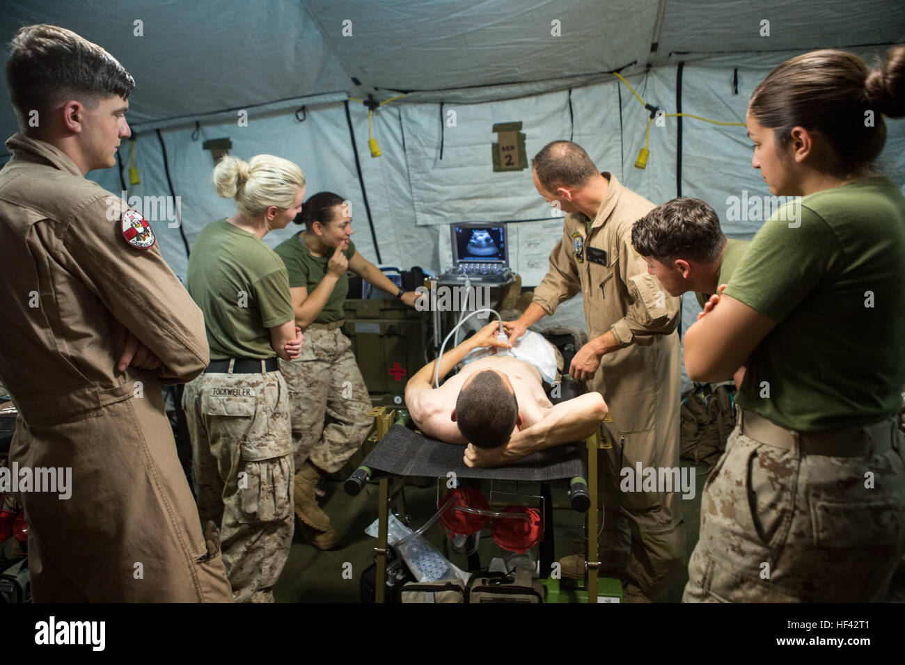 U.S. Navy Lt. Cmdr. Robert Oldt, an emergency physician and Lt. Oscar Kizhner, a flight surgeon, demonstrate proper Stock Photo